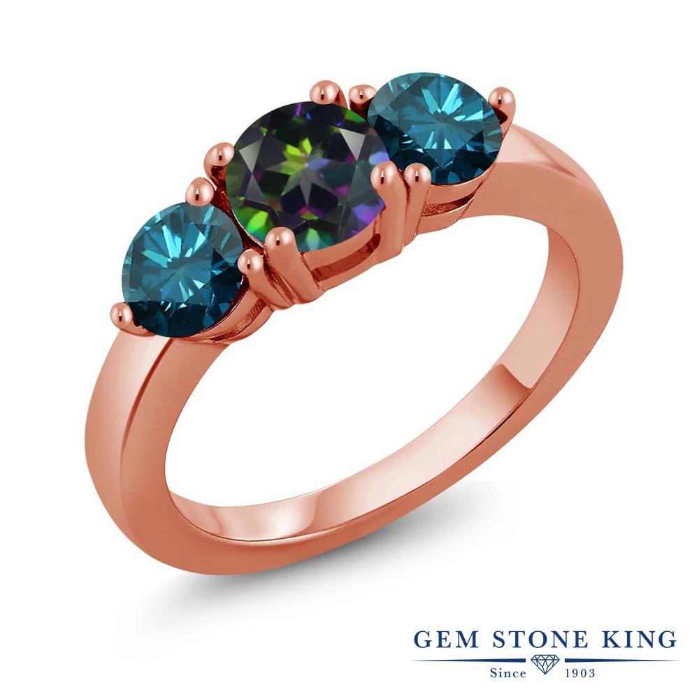 Gem Stone King 2.10カラット 天然石 ミスティックトパーズ(グリーン) シルバー 925 ローズゴールドコーティング 天然ブルーダイヤモンド 指輪 リング レディース 大粒 シンプル スリーストーン 天然石 金属アレルギー対応 誕生日プレゼント