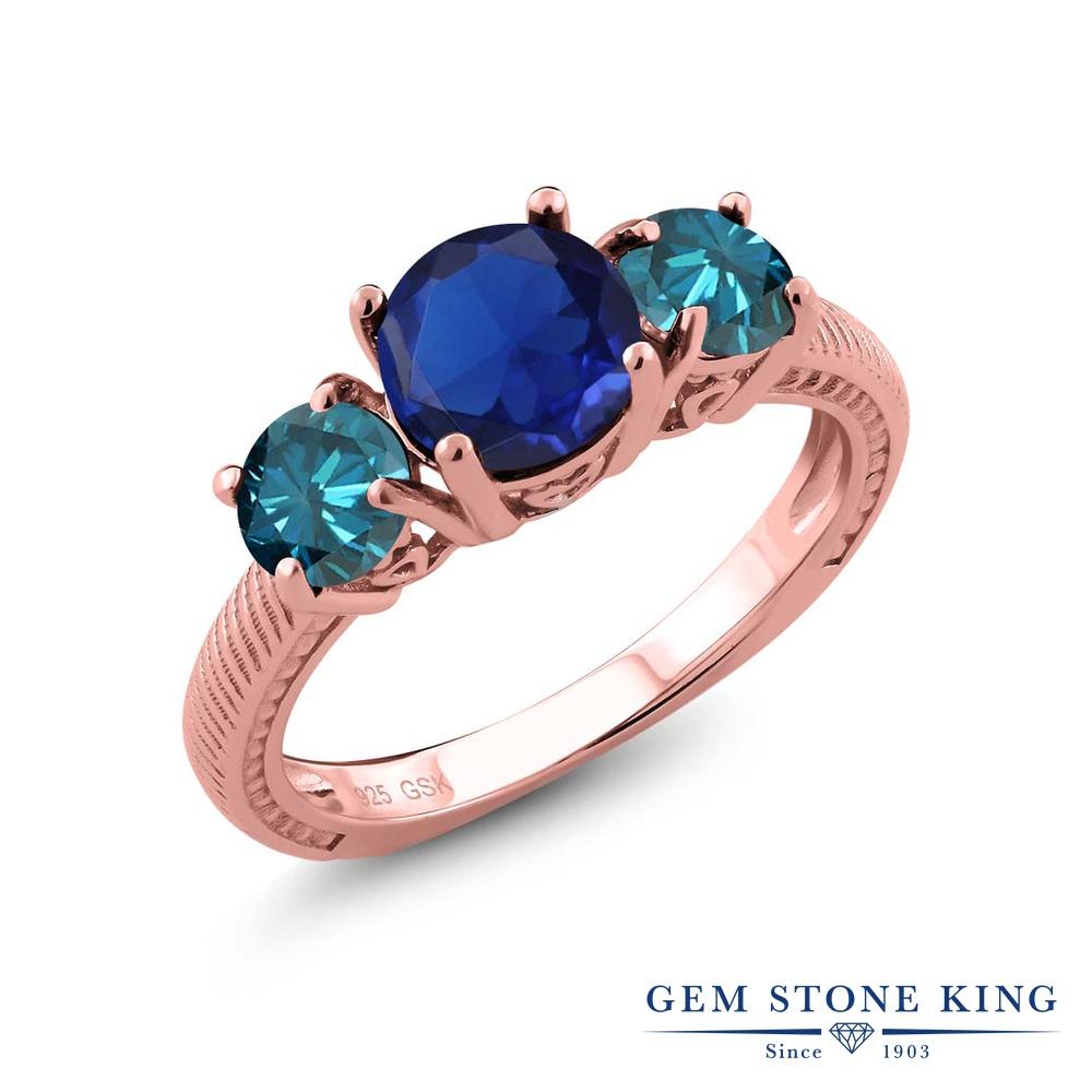 2.77カラット シミュレイテッド サファイア 天然 ブルーダイヤモンド 指輪 リング レディース シルバー925 ピンクゴールド 加工 大粒 シンプル スリーストーン プレゼント 女性 彼女 妻 誕生日