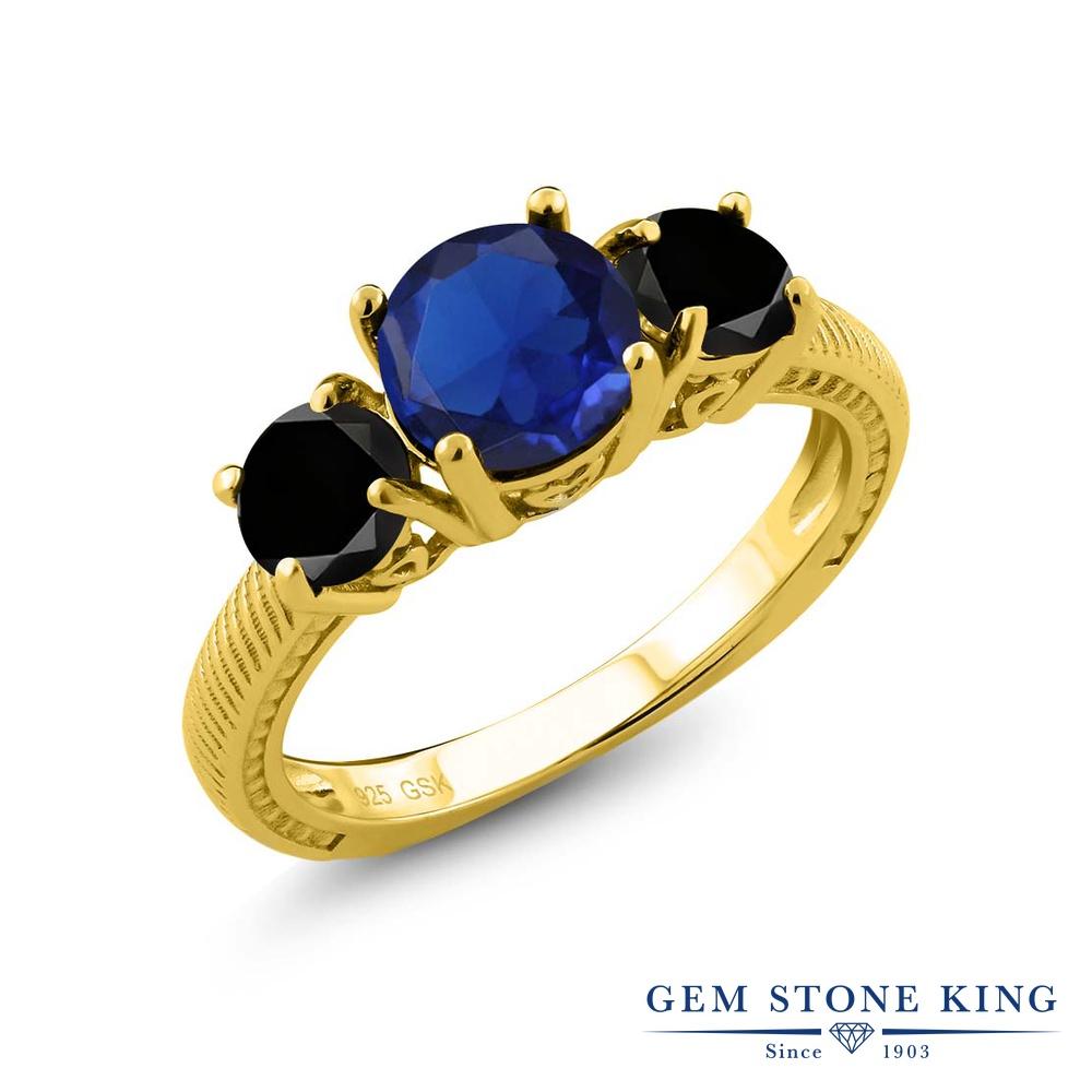 Gem Stone King 2.77カラット シミュレイテッドサファイア シルバー 925 イエローゴールドコーティング 天然ブラックダイヤモンド 指輪 リング レディース 大粒 シンプル 誕生日プレゼント