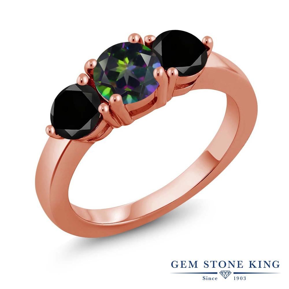 Gem Stone King 2.10カラット 天然石 ミスティックトパーズ(グリーン) シルバー 925 ローズゴールドコーティング 天然ブラックダイヤモンド 指輪 リング レディース 大粒 シンプル 天然石 誕生日プレゼント