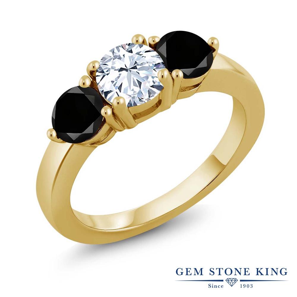 Gem Stone King 2.30カラット 合成ホワイトサファイア(ダイヤのような無色透明) シルバー 925 イエローゴールドコーティング 天然ブラックダイヤモンド 指輪 リング レディース 大粒 シンプル 誕生日プレゼント