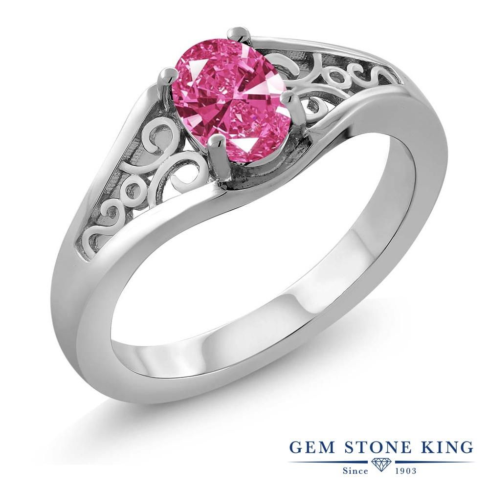 Gem Stone King スワロフスキージルコニア (ピンク) 指輪 リング レディース シルバー925 CZ 一粒 シンプル ソリティア 金属アレルギー対応
