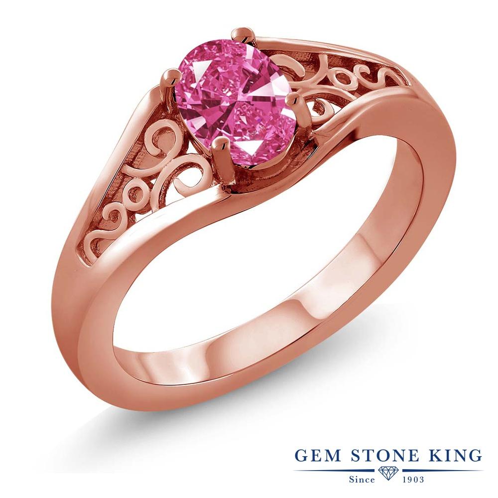 スワロフスキージルコニア (ピンク) 指輪 リング レディース シルバー925 ピンクゴールド 加工 CZ 一粒 シンプル ソリティア 金属アレルギー対応
