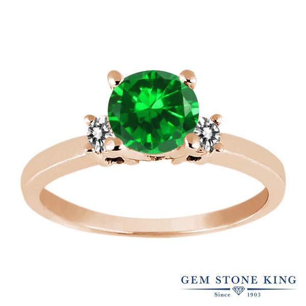 1.7カラット ナノエメラルド 指輪 レディース リング 天然 ダイヤモンド ピンクゴールド 加工 シルバー925 ブランド おしゃれ 緑 大粒 シンプル スリーストーン 婚約指輪 エンゲージリング