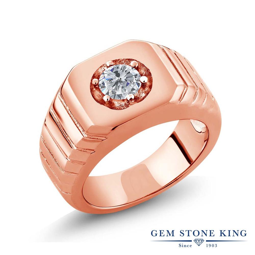 0.5カラット 天然 ダイヤモンド 指輪 レディース リング ピンクゴールド 加工 シルバー925 ブランド おしゃれ 一粒 ダイヤ 小粒 シンプル 太め 太い ソリティア 天然石 4月 誕生石 プレゼント 女性 彼女 妻 誕生日