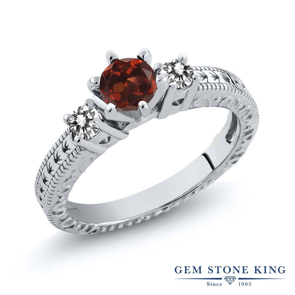 Gem Stone King 0.8カラット 天然 ガーネット 天然 ダイヤモンド シルバー925 指輪 リング レディース スリーストーン シンプル 天然石 1月 誕生石 金属アレルギー対応 誕生日プレゼント