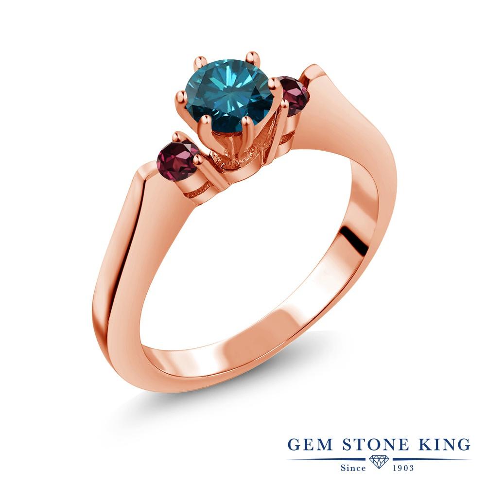 Gem Stone King 0.73カラット 天然ブルーダイヤモンド 天然ロードライトガーネット シルバー 925 ローズゴールドコーティング 指輪 リング レディース スリーストーン シンプル 天然石 誕生石 金属アレルギー対応 誕生日プレゼント