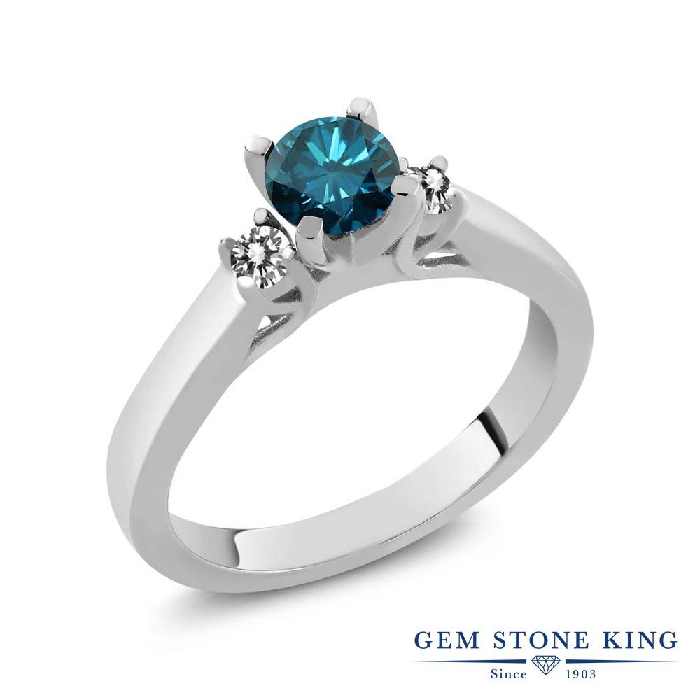 0.68カラット 天然 ブルーダイヤモンド 指輪 リング レディース シルバー925 ブルー ダイヤ スリーストーン シンプル 天然石 4月 誕生石 クリスマスプレゼント 女性 彼女 妻 誕生日