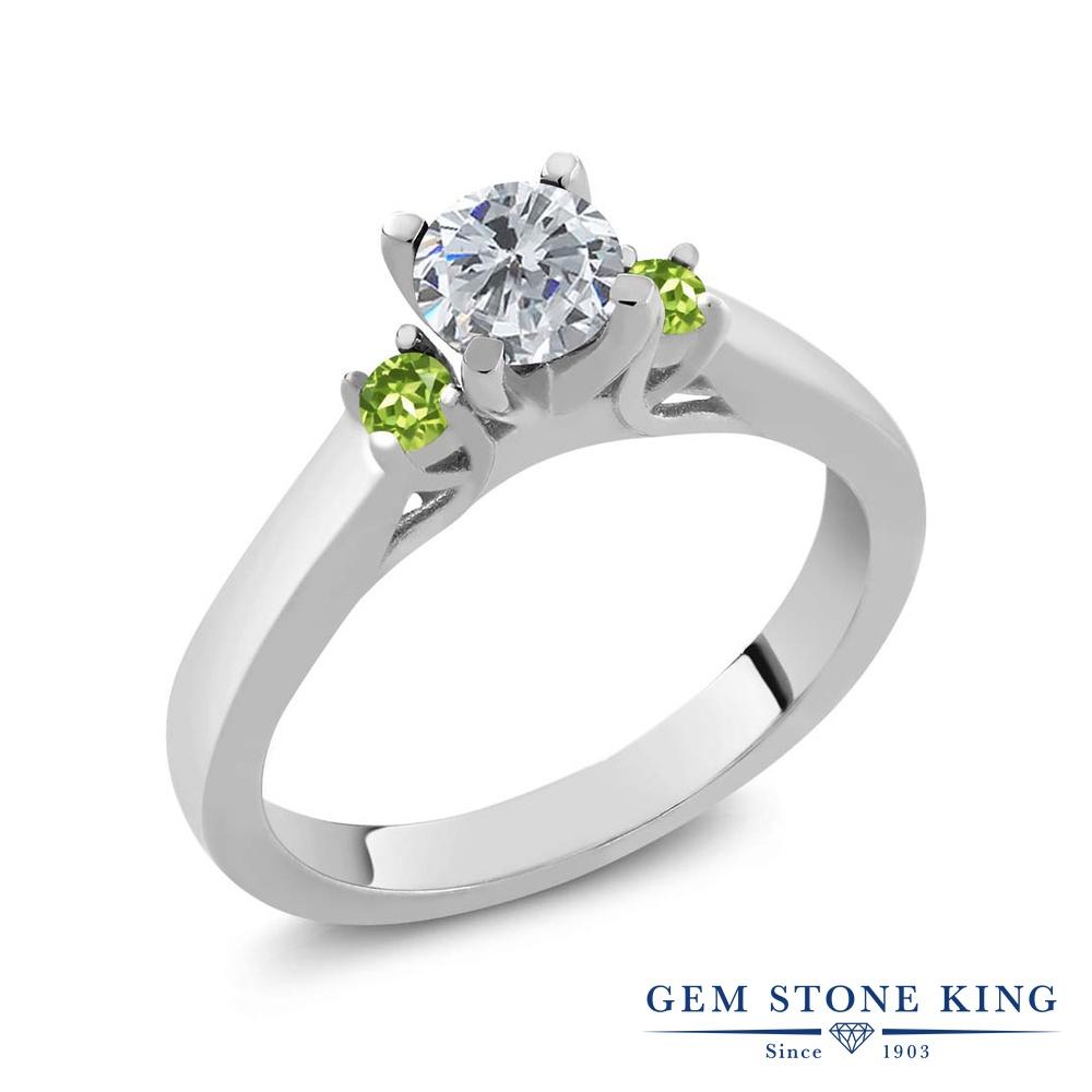 0.64カラット 天然 ダイヤモンド 指輪 レディース リング 天然石 ペリドット シルバー925 ブランド おしゃれ スリーストーン ダイヤ 小粒 シンプル 4月 誕生石 プレゼント 女性 彼女 妻 誕生日