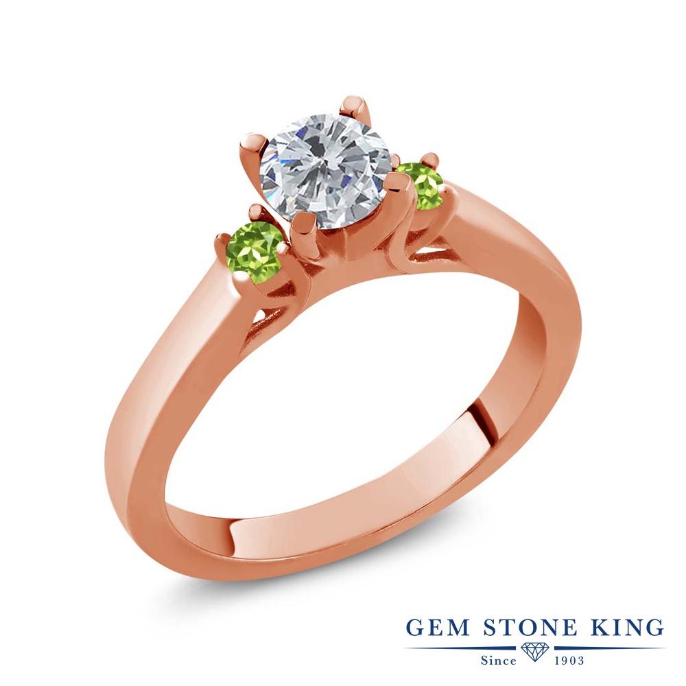 0.64カラット 天然 ダイヤモンド 指輪 レディース リング 天然石 ペリドット ピンクゴールド 加工 シルバー925 ブランド おしゃれ スリーストーン ダイヤ 小粒 シンプル 4月 誕生石 プレゼント 女性 彼女 妻 誕生日