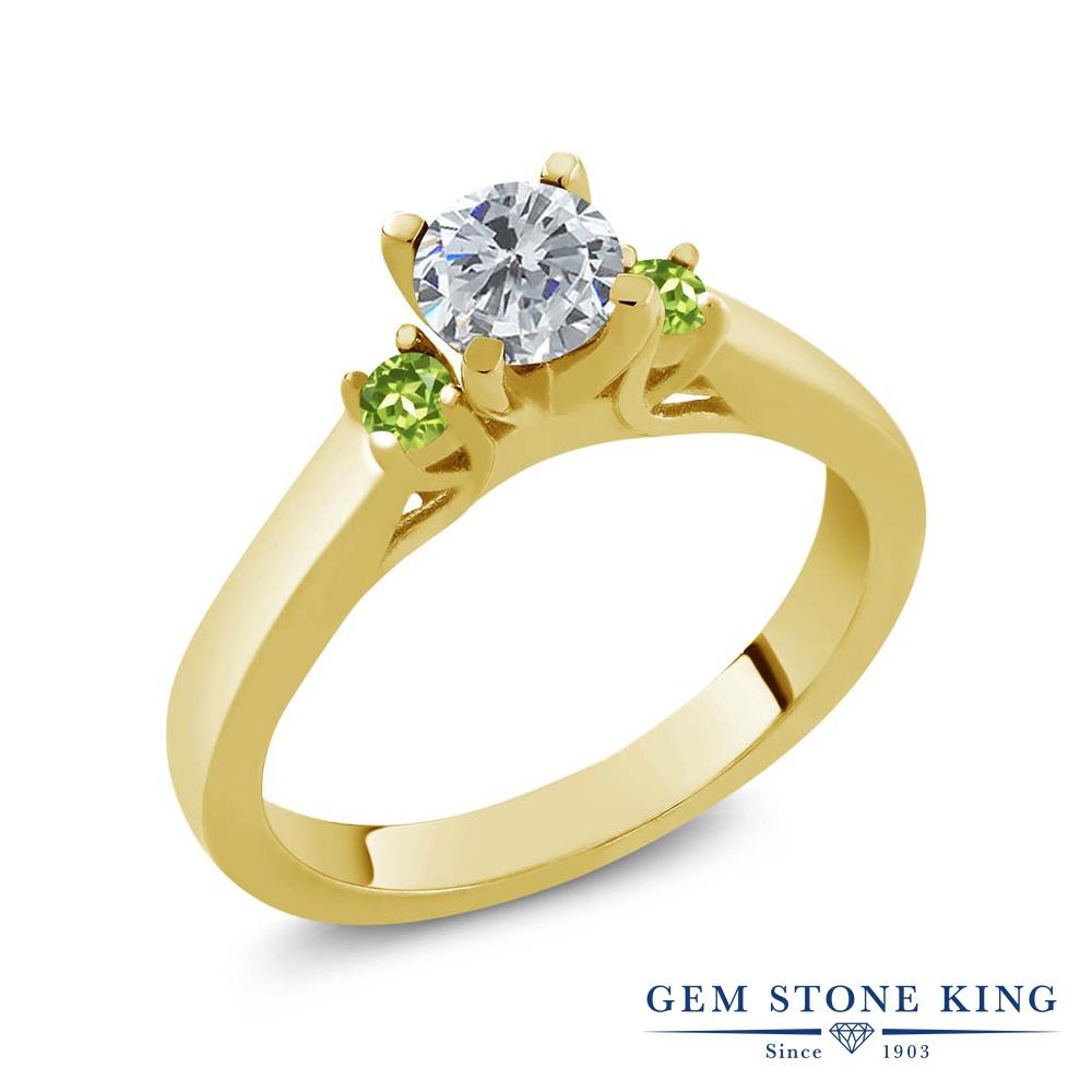 0.64カラット 天然 ダイヤモンド 指輪 レディース リング 天然石 ペリドット イエローゴールド 加工 シルバー925 ブランド おしゃれ スリーストーン ダイヤ 小粒 シンプル 4月 誕生石 プレゼント 女性 彼女 妻 誕生日