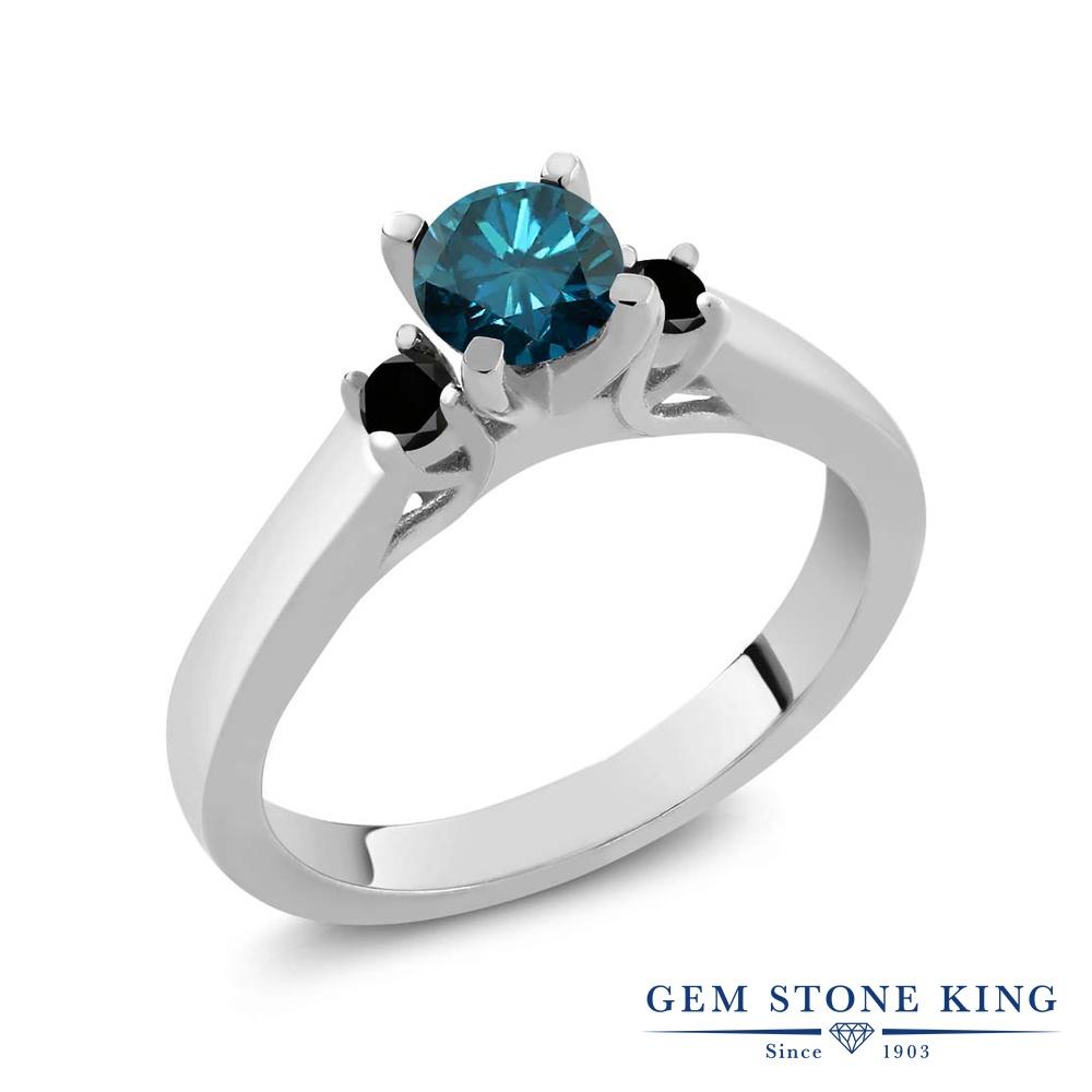 Gem Stone King 0.68カラット 天然 ブルーダイヤモンド シルバー925 指輪 リング レディース ブルー ダイヤ スリーストーン シンプル 天然石 4月 誕生石 金属アレルギー対応 誕生日プレゼント
