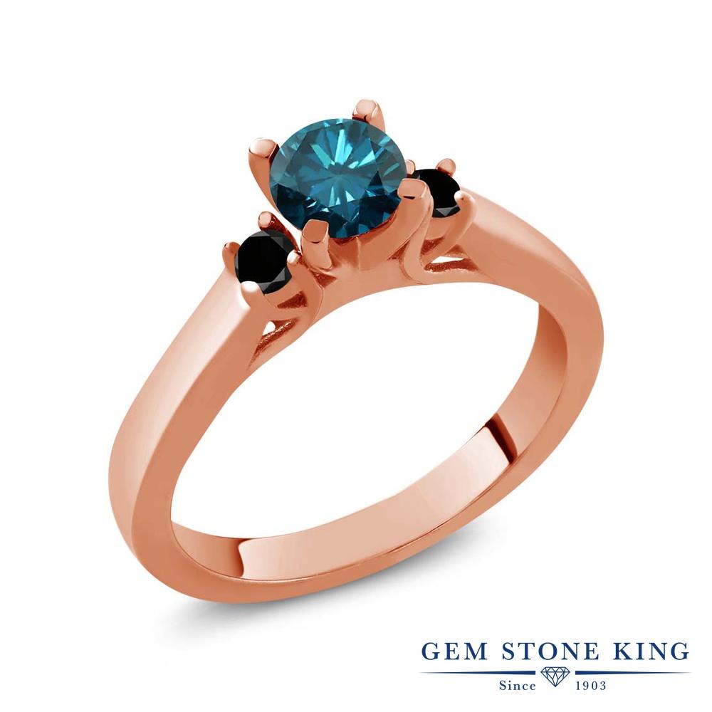 Gem Stone King 0.68カラット 天然 ブルーダイヤモンド シルバー925 ピンクゴールドコーティング 指輪 リング レディース ブルー ダイヤ スリーストーン シンプル 天然石 4月 誕生石 金属アレルギー対応 誕生日プレゼント