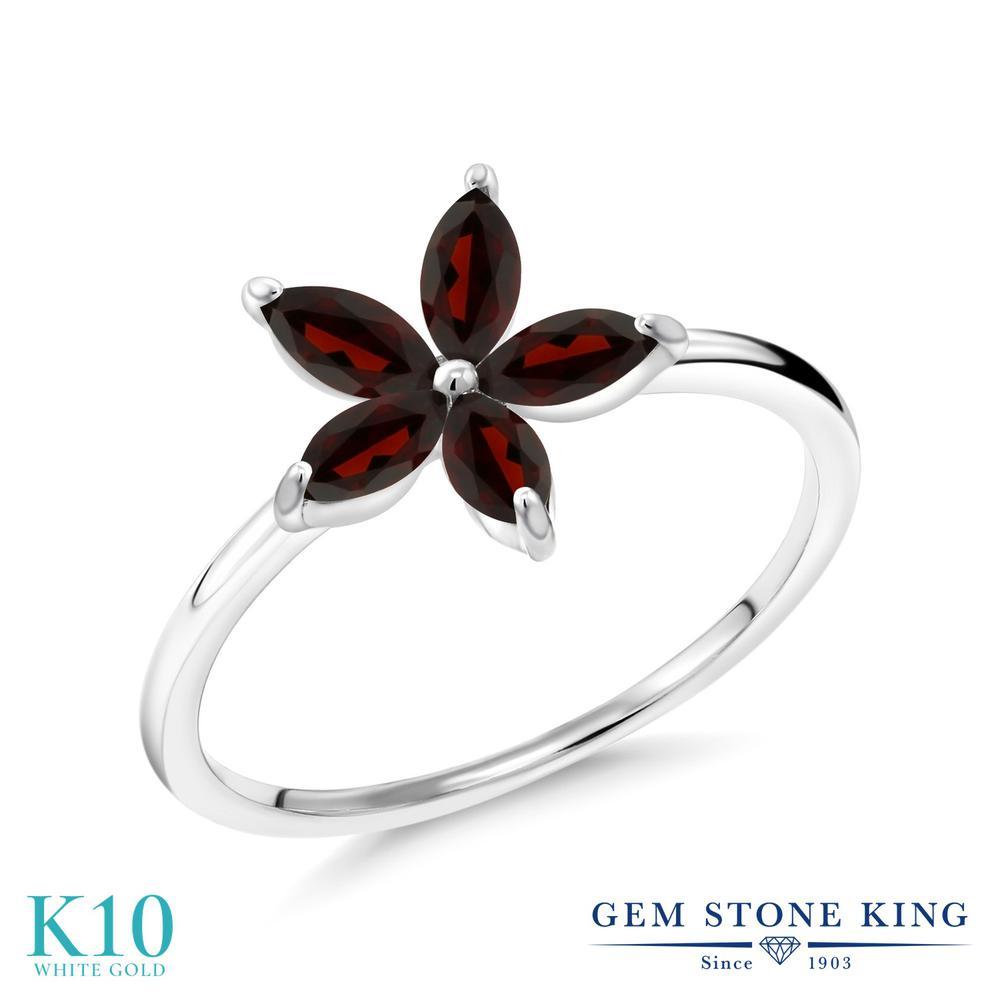 Gem Stone King 0.9カラット 天然 ガーネット 10金 ホワイトゴールド(K10) 指輪 リング レディース 小粒 ハーフエタニティ 天然石 1月 誕生石 金属アレルギー対応 誕生日プレゼント