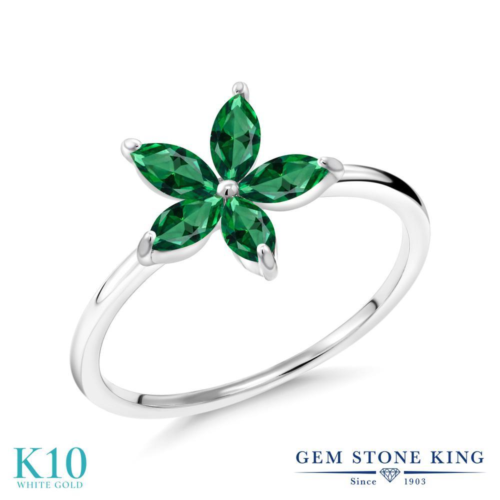 Gem Stone King スワロフスキージルコニア (グリーン) 10金 ホワイトゴールド(K10) 指輪 リング レディース CZ 小粒 ハーフエタニティ 金属アレルギー対応 誕生日プレゼント