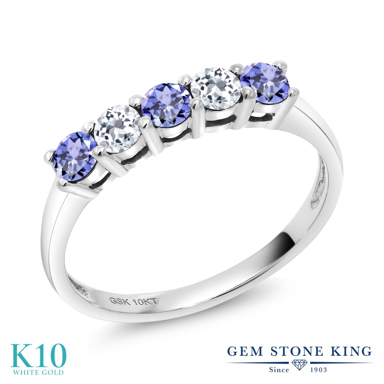 Gem Stone King 0.64カラット 天然石 タンザナイト 天然 トパーズ (無色透明) 10金 ホワイトゴールド(K10) 指輪 リング レディース 小粒 ハーフエタニティ 天然石 12月 誕生石 金属アレルギー対応 誕生日プレゼント