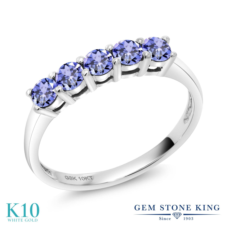 【10%OFF】 Gem Stone King 0.6カラット 天然石 タンザナイト 指輪 リング レディース 10金 ホワイトゴールド K10 小粒 ハーフエタニティ 12月 誕生石 クリスマスプレゼント 女性 彼女 妻 誕生日