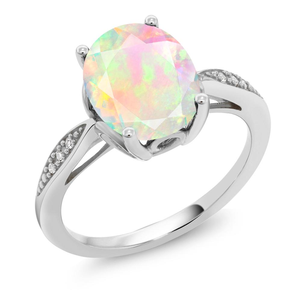 Gem Stone King 1.31カラット 天然エチオピアンオパール 14金 ホワイトゴールド(K14) 天然ダイヤモンド 指輪 リング レディース 大粒 天然石 誕生日プレゼント