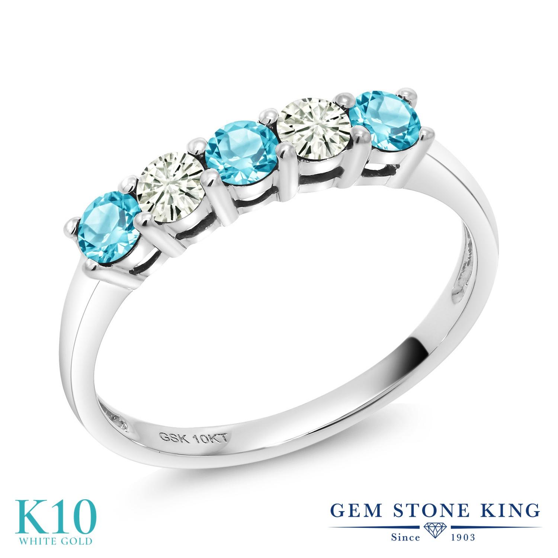 Gem Stone King 0.65カラット 天然 スイスブルートパーズ モアサナイト Charles & Colvard 10金 ホワイトゴールド(K10) 指輪 リング レディース 小粒 ハーフエタニティ 天然石 11月 誕生石 金属アレルギー対応 誕生日プレゼント