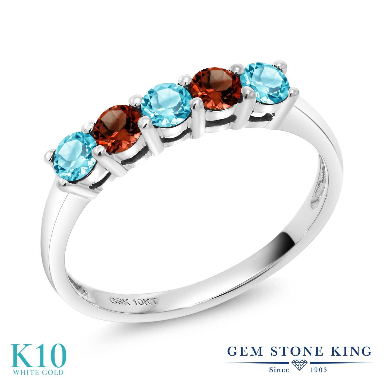 【10%OFF】 Gem Stone King 0.69カラット 天然 スイスブルートパーズ ガーネット 指輪 リング レディース 10金 ホワイトゴールド K10 小粒 ハーフエタニティ 天然石 11月 誕生石 クリスマスプレゼント 女性 彼女 妻 誕生日