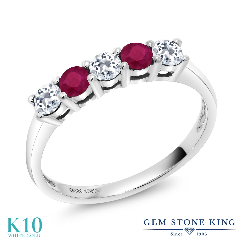 Gem Stone King 0.7カラット 天然 トパーズ (無色透明) 天然 ルビー 10金 ホワイトゴールド(K10) 指輪 リング レディース 小粒 ハーフエタニティ 天然石 11月 誕生石 金属アレルギー対応 誕生日プレゼント