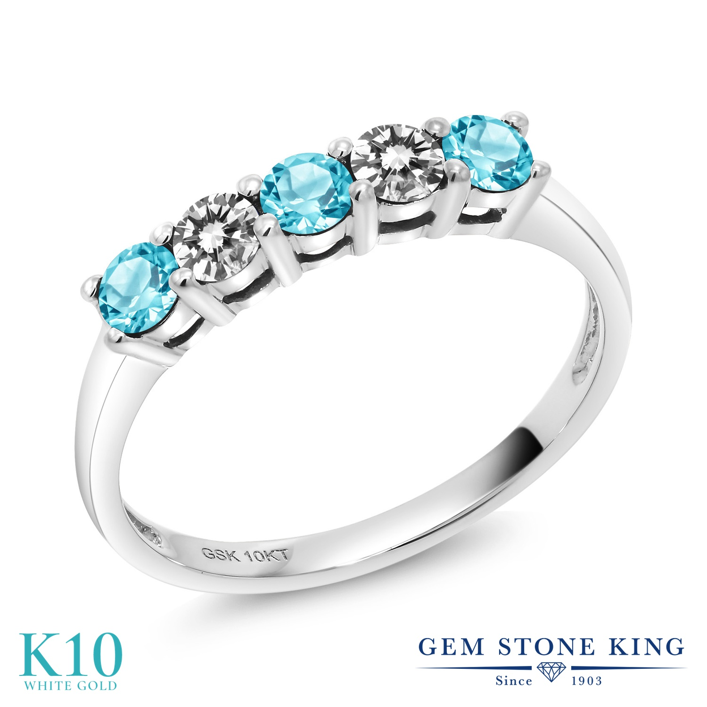 Gem Stone King 0.65カラット 天然トパーズ(スイスブルー) 10金 ホワイトゴールド(K10) 天然ダイヤモンド 指輪 リング レディース 小粒 天然石 誕生石 誕生日プレゼント