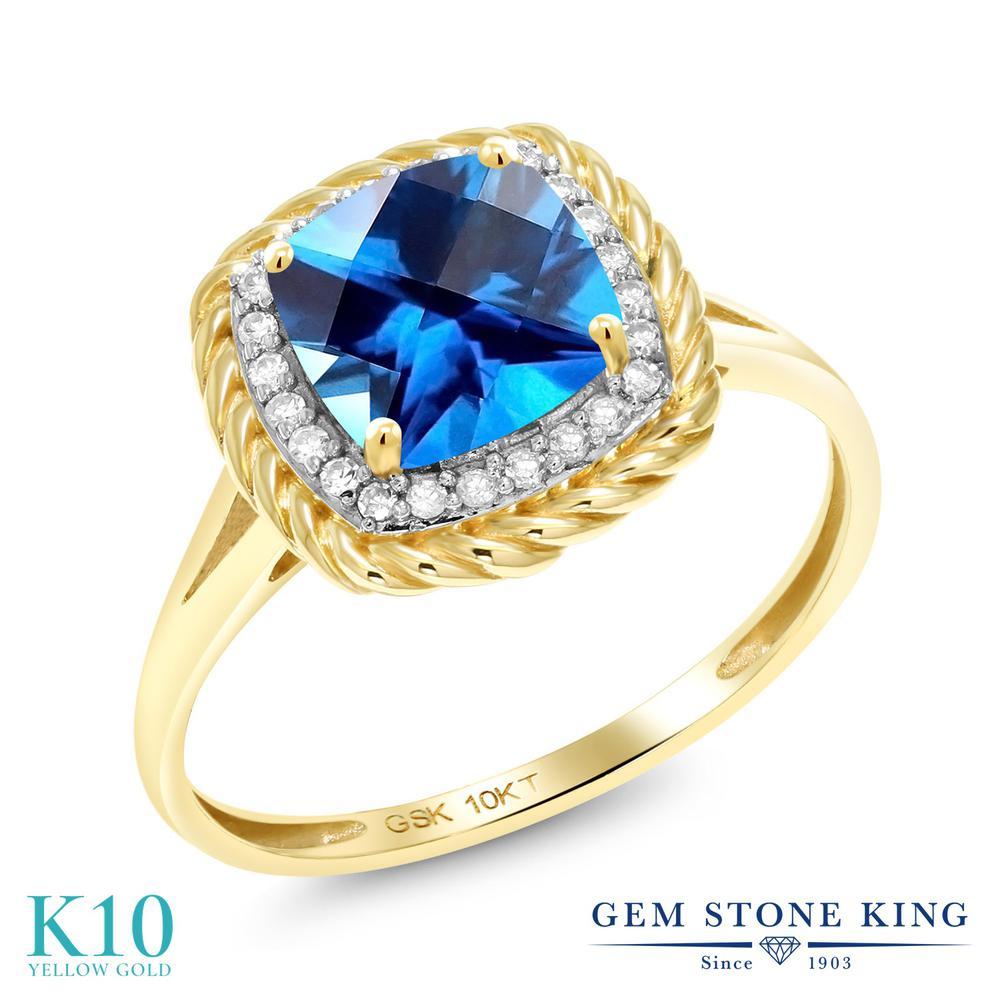 Gem Stone King 1.73カラット 天然石トパーズ カシミアブルー(スワロフスキー 天然石シリーズ) 10金 イエローゴールド(K10) 天然ダイヤモンド 指輪 リング レディース 大粒 天然石 誕生日プレゼント