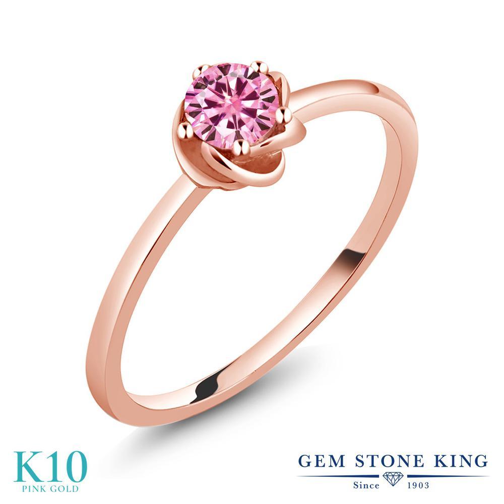 Gem Stone King 0.5カラット ピンク モアサナイト Charles & Colvard 10金 ピンクゴールド(K10) 指輪 リング レディース モアッサナイト 小粒 一粒 シンプル ソリティア 金属アレルギー対応 誕生日プレゼント