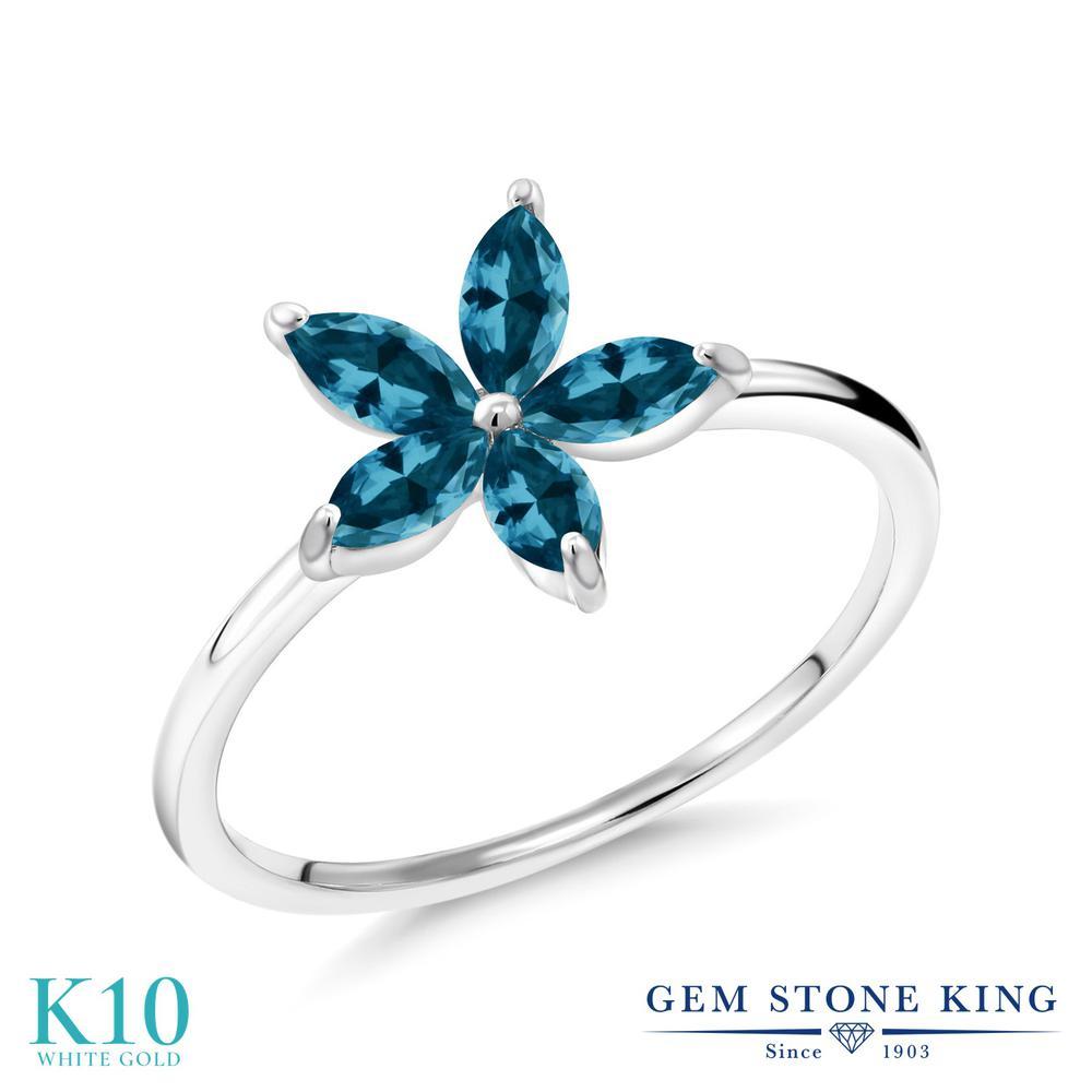 Gem Stone King 0.85カラット 天然 ロンドンブルートパーズ 10金 ホワイトゴールド(K10) 指輪 リング レディース 小粒 ハーフエタニティ 天然石 11月 誕生石 金属アレルギー対応 誕生日プレゼント