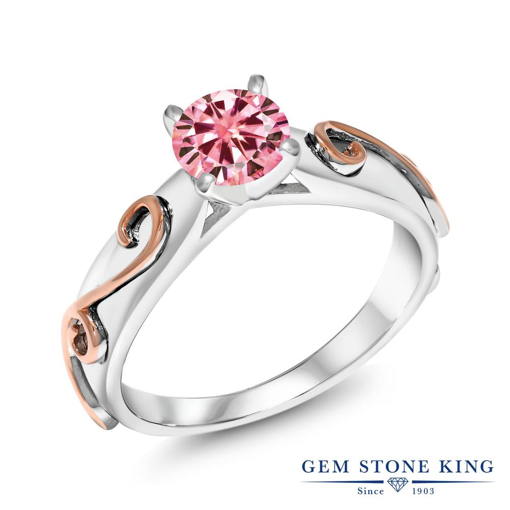 【10%OFF】 Gem Stone King 1.00カラット ピンク シルバー925 指輪 リング レディース モアサナイト 大粒 一粒 シンプル ソリティア 金属アレルギー対応 誕生日プレゼント
