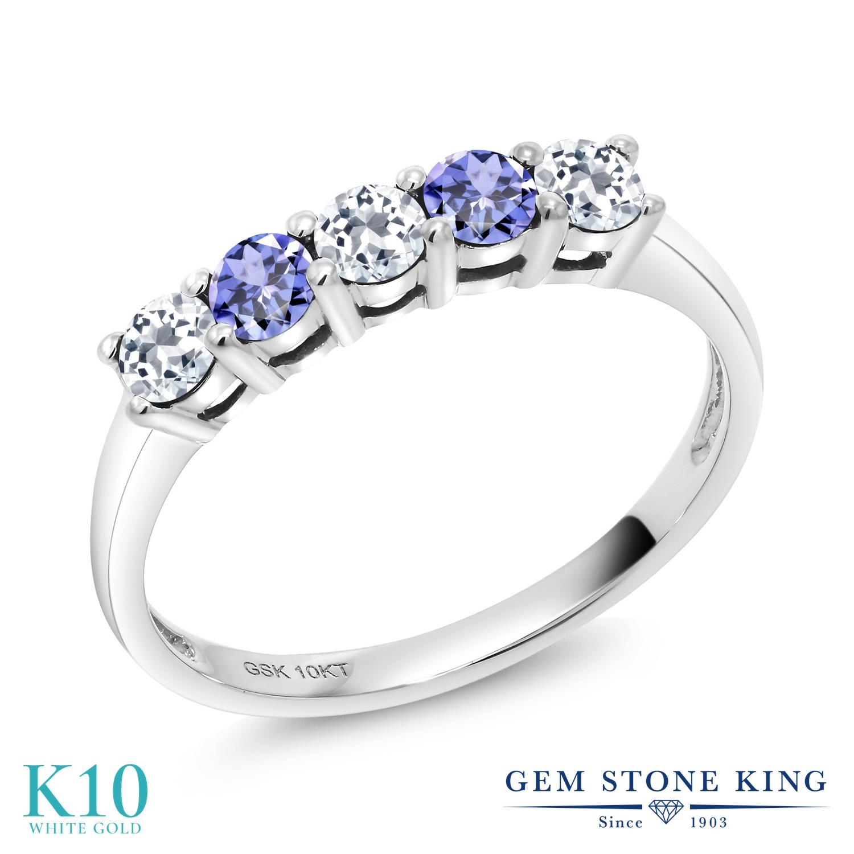 Gem Stone King 0.66カラット 天然 トパーズ (無色透明) 天然石 タンザナイト 10金 ホワイトゴールド(K10) 指輪 リング レディース 小粒 ハーフエタニティ 天然石 11月 誕生石 金属アレルギー対応 誕生日プレゼント