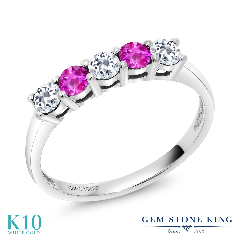【10%OFF】 Gem Stone King 0.68カラット 天然 トパーズ ピンクサファイア 指輪 リング レディース 10金 ホワイトゴールド K10 小粒 ハーフエタニティ 天然石 11月 誕生石 クリスマスプレゼント 女性 彼女 妻 誕生日
