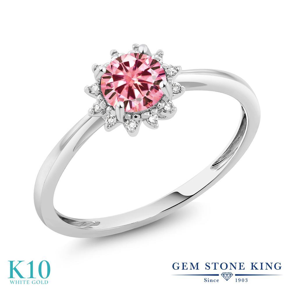 Gem Stone King 0.5カラット ピンク モアサナイト Charles & Colvard 天然 ダイヤモンド 10金 ホワイトゴールド(K10) 指輪 リング レディース モアッサナイト 小粒 ヘイロー 金属アレルギー対応 誕生日プレゼント