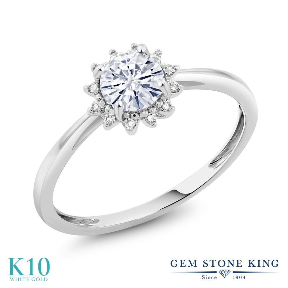 Gem Stone King 0.5カラット Forever Classic モアサナイト Charles & Colvard 天然 ダイヤモンド 10金 ホワイトゴールド(K10) 指輪 リング レディース モアッサナイト 小粒 ヘイロー 金属アレルギー対応 誕生日プレゼント