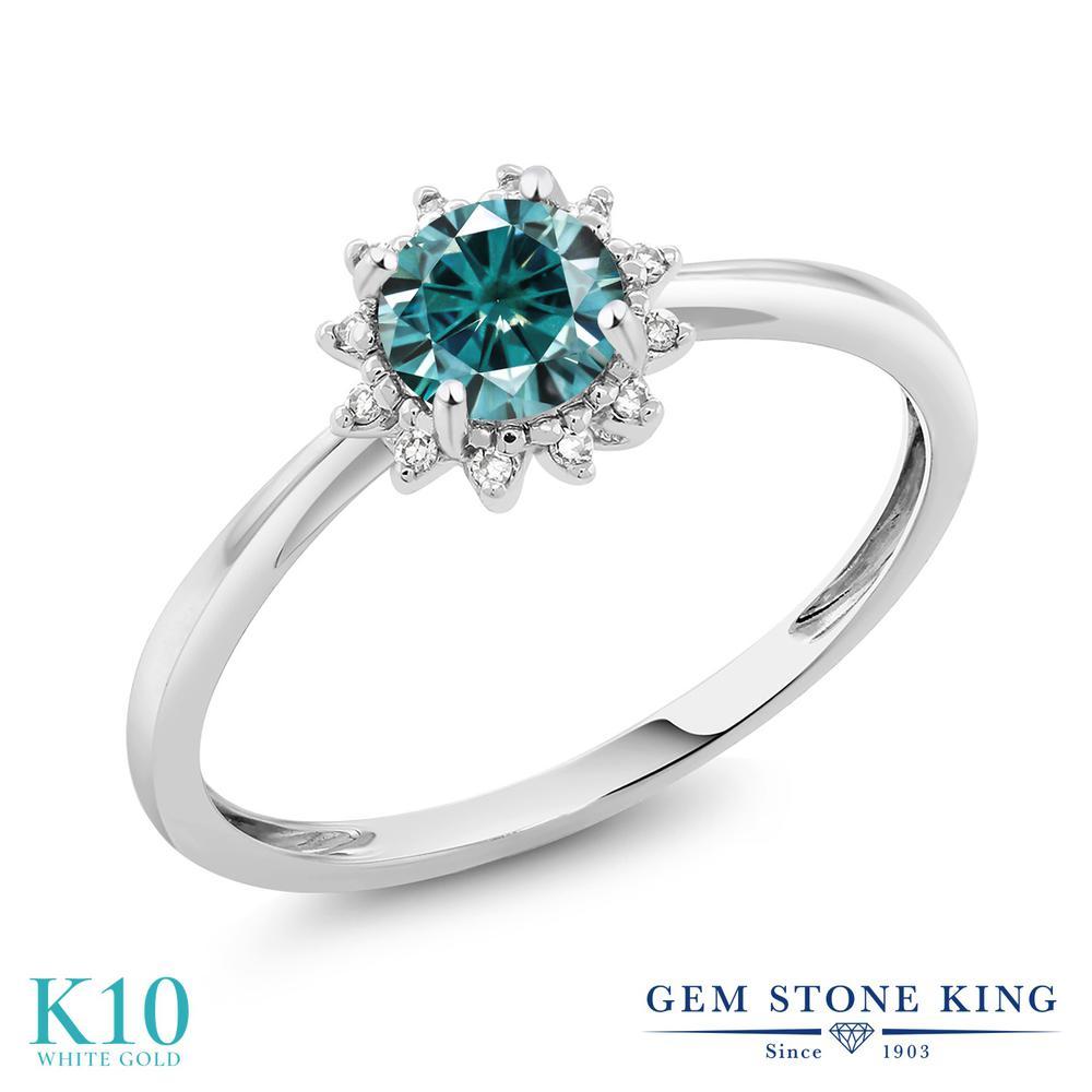 Gem Stone King 0.5カラット ブルー モアサナイト Charles & Colvard 天然 ダイヤモンド 10金 ホワイトゴールド(K10) 指輪 リング レディース モアッサナイト 小粒 ヘイロー 金属アレルギー対応 誕生日プレゼント