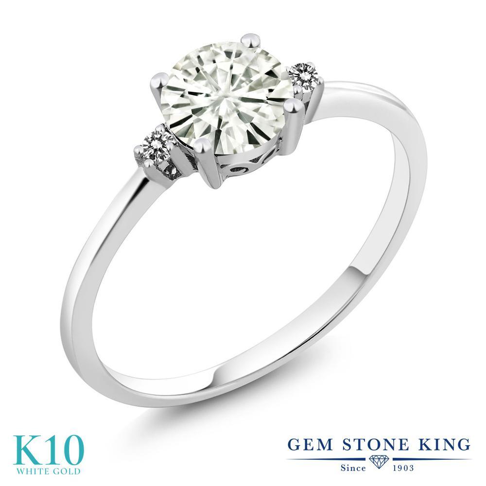 Gem Stone King 0.83カラット Forever Classic モアッサナイト Charles & Colvard 天然 ダイヤモンド 10金 ホワイトゴールド(K10) 指輪 リング レディース モアサナイト シンプル ソリティア 金属アレルギー対応 誕生日プレゼント