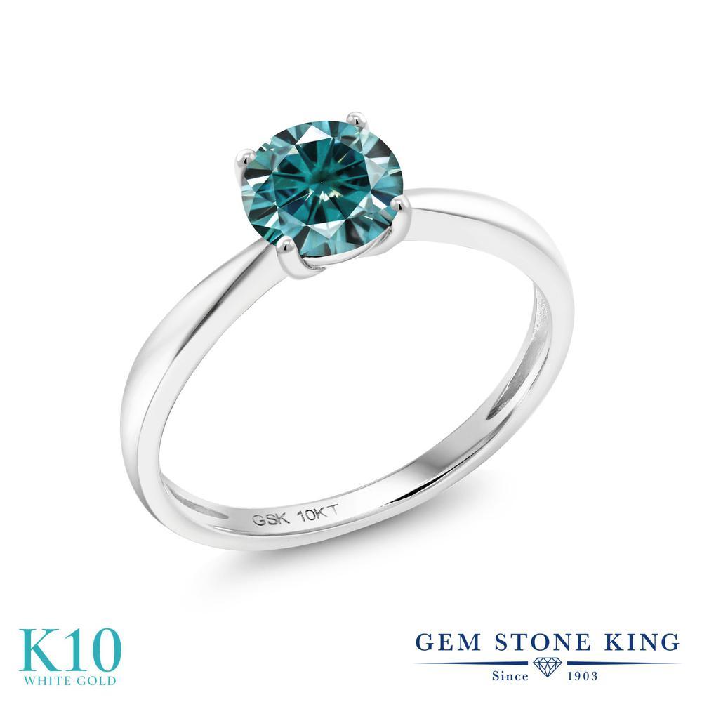 Gem Stone King 1カラット ブルー モアサナイト Charles & Colvard 10金 ホワイトゴールド(K10) 指輪 リング レディース モアッサナイト 大粒 一粒 シンプル ソリティア 金属アレルギー対応 誕生日プレゼント