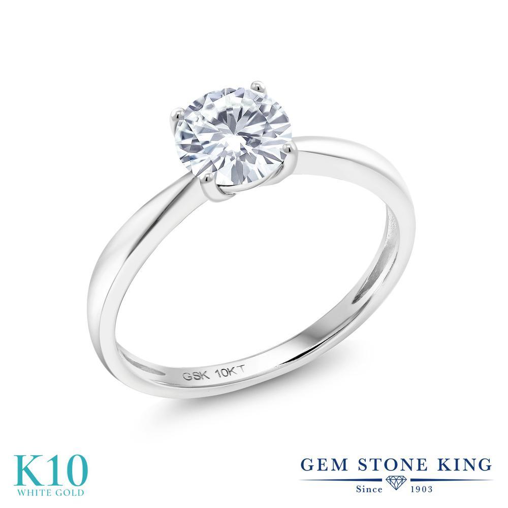 Gem Stone King 1カラット Forever Classic モアサナイト Charles & Colvard 10金 ホワイトゴールド(K10) 指輪 リング レディース モアッサナイト 大粒 一粒 シンプル ソリティア 金属アレルギー対応 誕生日プレゼント