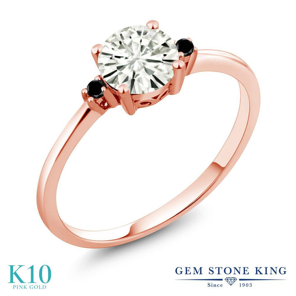 Gem Stone King 0.83カラット Forever Classic モアッサナイト Charles & Colvard 10金 ローズゴールド(K10) 天然ブラックダイヤモンド 指輪 リング レディース シンプル 誕生日プレゼント
