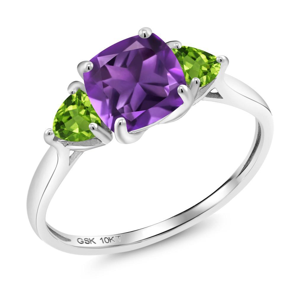 1.92カラット 天然 アメジスト 指輪 レディース リング 天然石 ペリドット 10金 ホワイトゴールド K10 ブランド おしゃれ 3連 スクエア アメシスト 紫 大粒 シンプル スリーストーン 2月 誕生石 婚約指輪 エンゲージリング