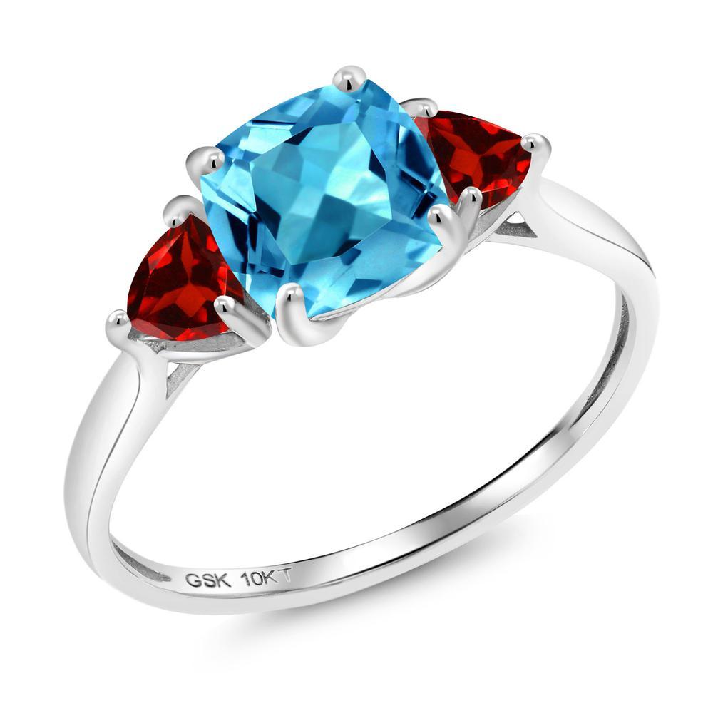【10%OFF】 Gem Stone King 2.53カラット 天然 スイスブルートパーズ ガーネット 指輪 リング レディース 10金 ホワイトゴールド K10 大粒 シンプル スリーストーン 天然石 11月 誕生石 婚約指輪 エンゲージリング