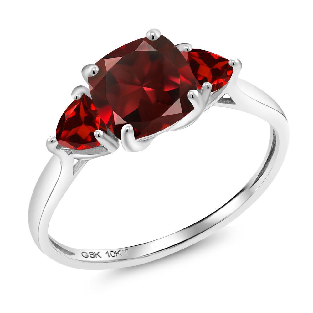 【10%OFF】 Gem Stone King 2.53カラット 天然 ガーネット 指輪 リング レディース 10金 ホワイトゴールド K10 大粒 シンプル スリーストーン 天然石 1月 誕生石 婚約指輪 エンゲージリング