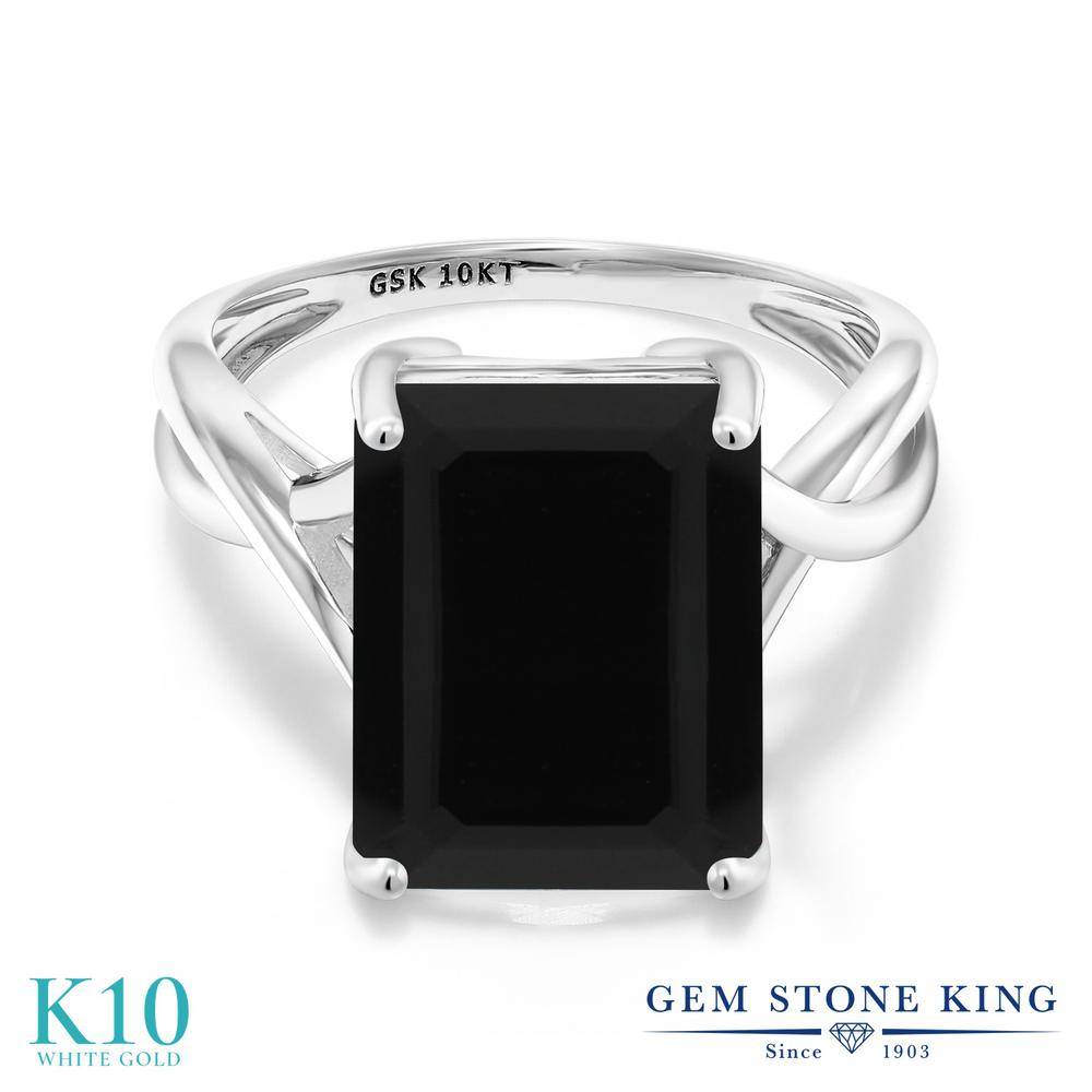 Gem Stone King 5カラット 天然 オニキス 10金 ホワイトゴールド(K10) 指輪 リング レディース 大粒 一粒 シンプル ソリティア 天然石 8月 誕生石 金属アレルギー対応 誕生日プレゼント