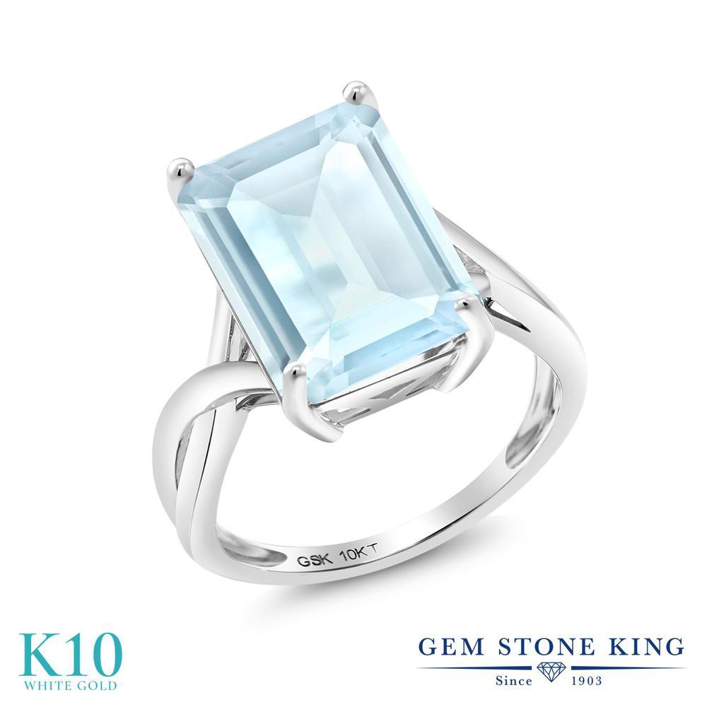 Gem Stone King 8.7カラット 天然 スカイブルートパーズ 10金 ホワイトゴールド(K10) 指輪 リング レディース 大粒 一粒 シンプル ソリティア 天然石 11月 誕生石 金属アレルギー対応 誕生日プレゼント
