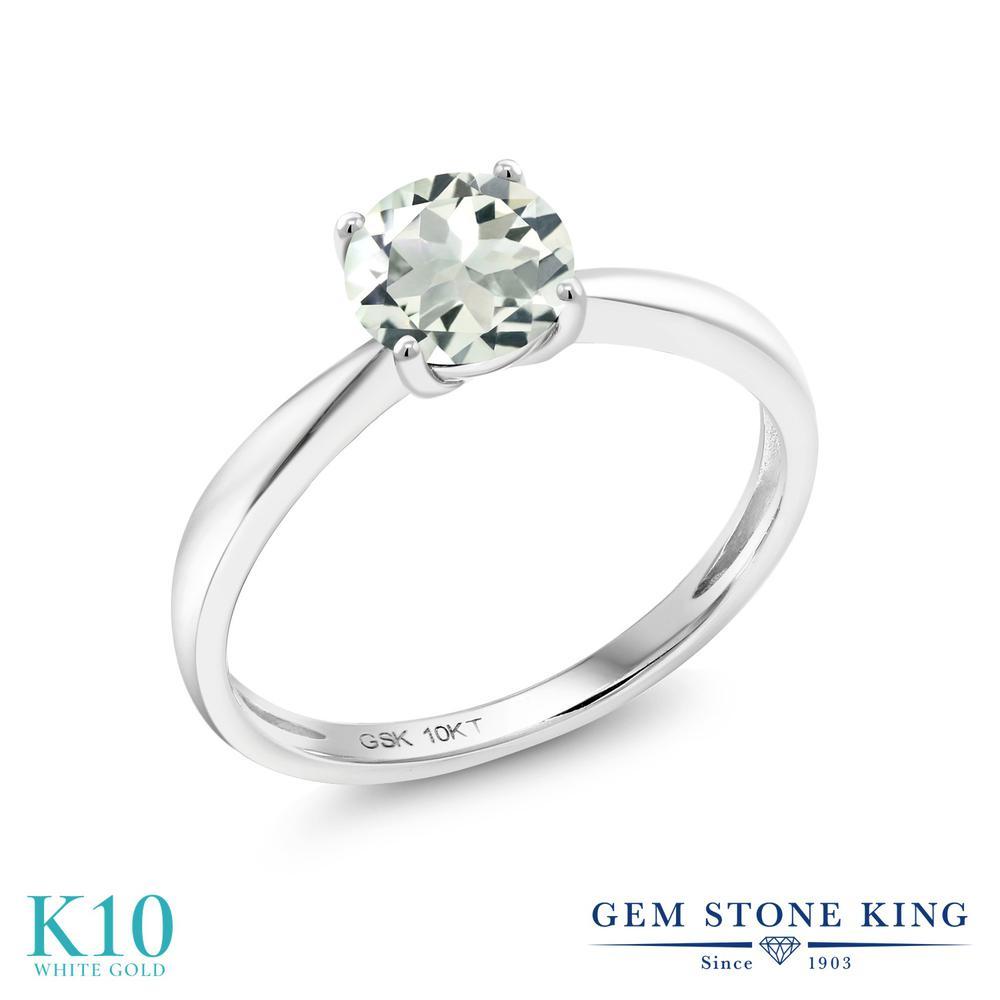【10%OFF】 Gem Stone King 0.95カラット 天然 プラジオライト (グリーンアメジスト) 指輪 リング レディース 10金 ホワイトゴールド K10 一粒 シンプル ソリティア 天然石 クリスマスプレゼント 女性 彼女 妻 誕生日
