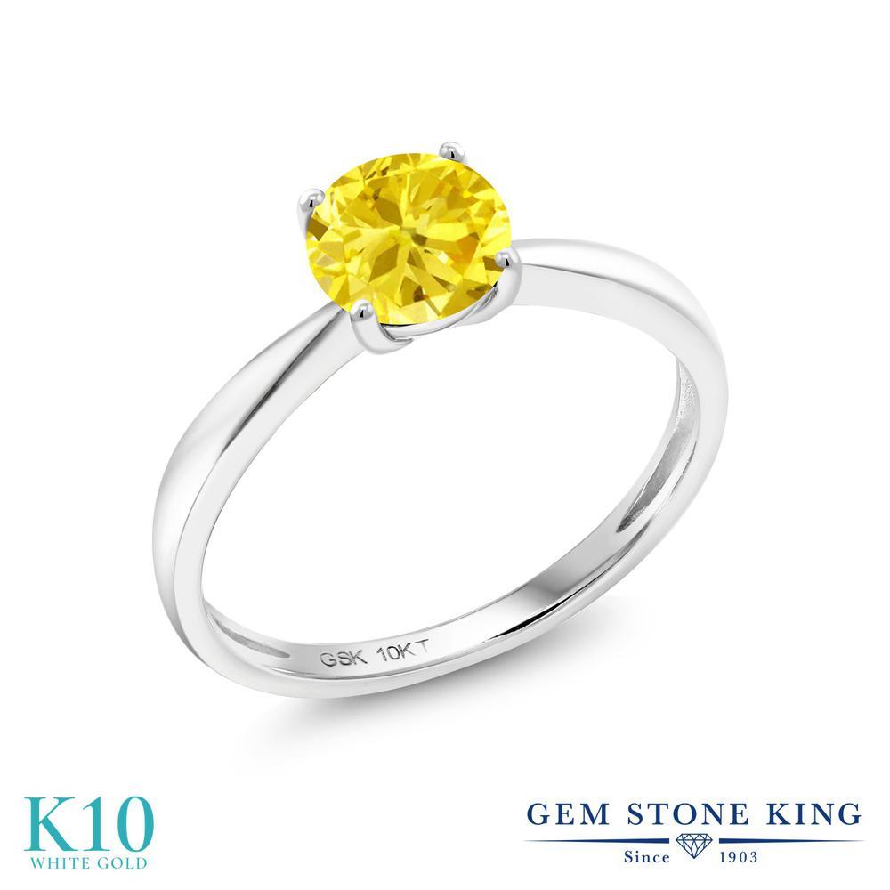 【10%OFF】 Gem Stone King ジルコニア (イエロー) 指輪 リング レディース 10金 ホワイトゴールド K10 CZ 大粒 一粒 シンプル ソリティア クリスマスプレゼント 女性 彼女 妻 誕生日