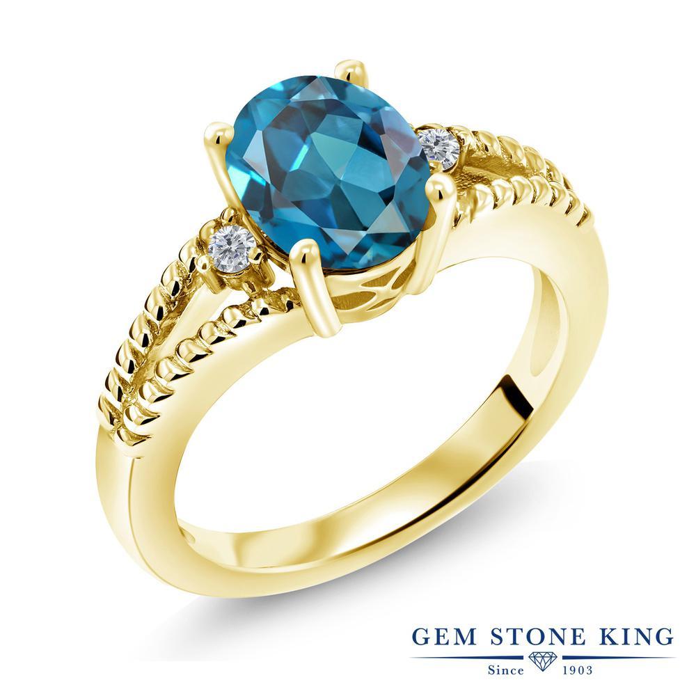 1.85カラット 天然 ロンドンブルートパーズ 指輪 レディース リング ダイヤモンド イエローゴールド 加工 シルバー925 ブランド おしゃれ ミル打ち ダブルライン 大粒 シンプル ソリティア 天然石 11月 誕生石 金属アレルギー対応