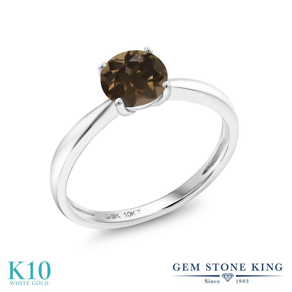 【10%OFF】 Gem Stone King 0.8カラット 天然 スモーキークォーツ (ブラウン) 指輪 リング レディース 10金 ホワイトゴールド K10 一粒 シンプル ソリティア 天然石 クリスマスプレゼント 女性 彼女 妻 誕生日