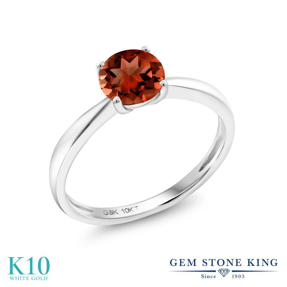 Gem Stone King 1カラット 天然 ガーネット 10金 ホワイトゴールド(K10) 指輪 リング レディース 大粒 一粒 シンプル ソリティア 天然石 1月 誕生石 金属アレルギー対応 誕生日プレゼント