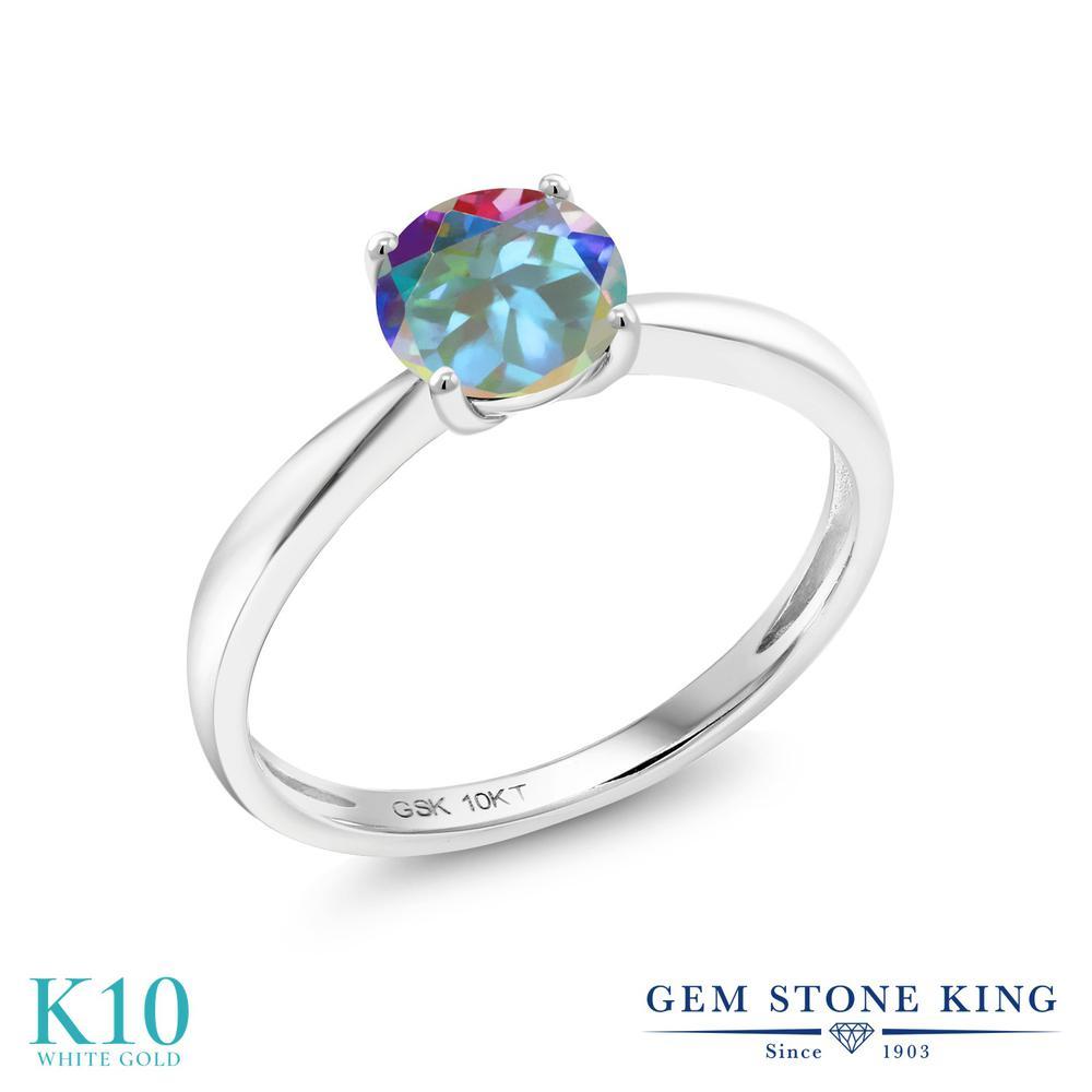 【10%OFF】 Gem Stone King 1カラット 天然石 ミスティックトパーズ (マーキュリーミスト) 指輪 リング レディース 10金 ホワイトゴールド K10 大粒 一粒 シンプル ソリティア クリスマスプレゼント 女性 彼女 妻 誕生日